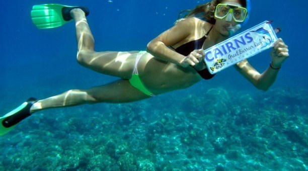 snorkeling with sign