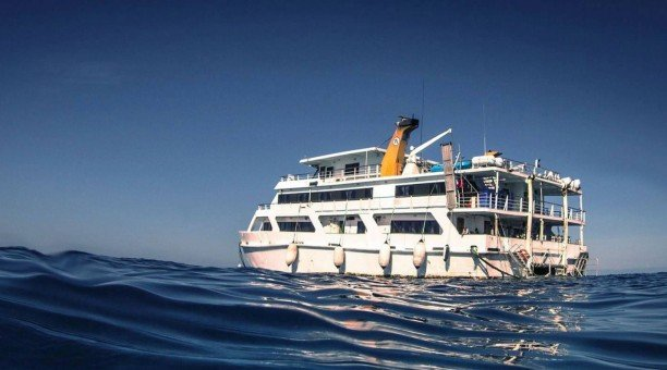 Reef Encounter on the coral sea, side view