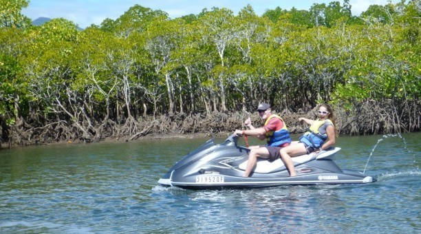 Croc spotting in Cairns on our jetski tour