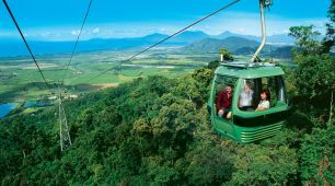 <h2>Skyrail</h2> The Skyrail experience gives you a birds-eye view of the canopy of the Wet Tropics of North Queensland's World Heritage Area.  The Cairns Skyrail experience is a 7.5-kilometre scenic cable that operates above the Barron Gorge National Park.  Skyrail is a popular attraction and can be experienced as a half day option or a together with other Cairns Tours as a package.
