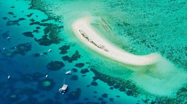 Michaelmas Reef with overhead view of Michaelmas Cay