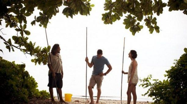 Learning to throw a spear at Cooya Beach