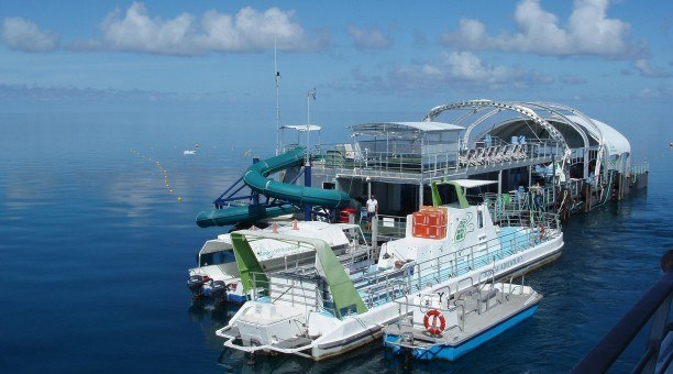 diving and snorkel pontoon at knuckle reef