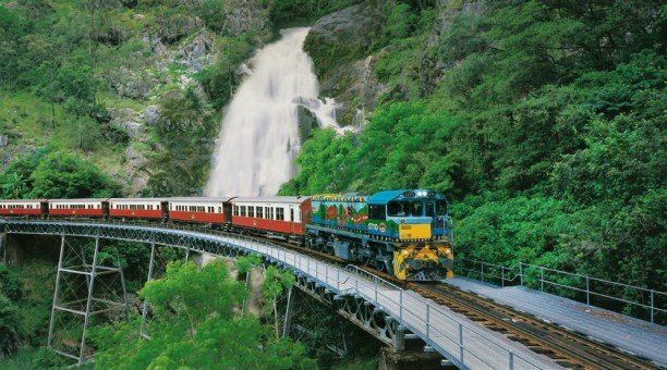 Kuranda Train with waterfall