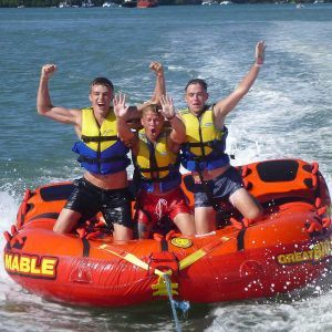 Bumper Tube rides are so much fun you can take a few friends and experience the thrill of being towed a long on our inflatable tube.