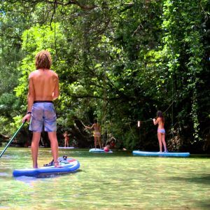 Stand Up Paddleboarding standing on the board and use a paddle to propel them in the water.  Stand Up Paddle Boarding is a fun way to be in nature and get a workout.  Book Today