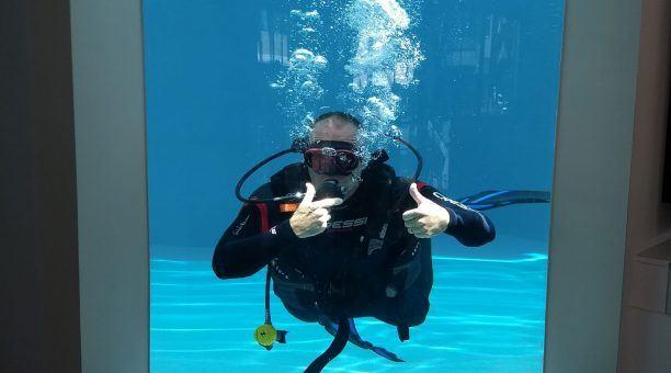 Dive Centre Pool window
