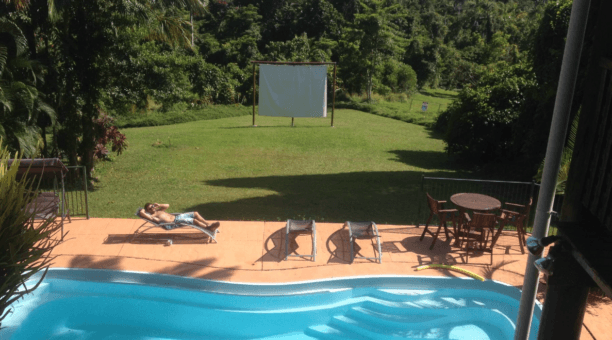 The pool and movie area