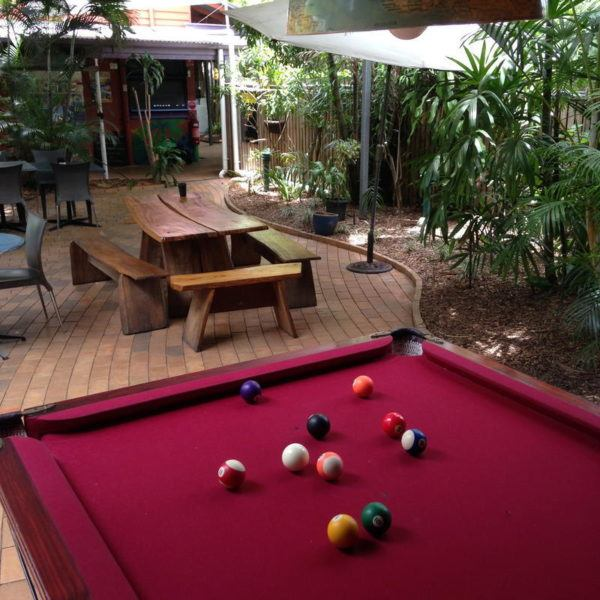 Backyard with pool table
