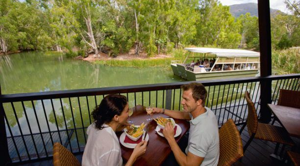 Enjoy a nice lunch while spotting crocodiles in the lagoon!