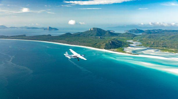 Flying over the northern end of Whitehaven Beach, approaching Hill Inlet.