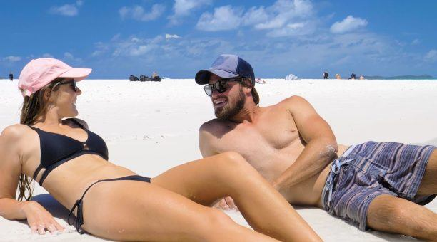 Relaxing on Whitehaven Beach